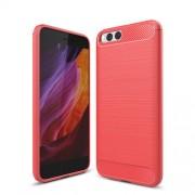 Carbon Fibre Brushed TPU Back Case for Xiaomi Mi 6 - Red