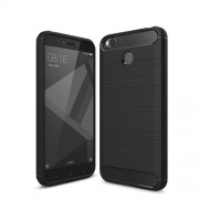 Carbon Fibre Brushed TPU Case for Xiaomi Redmi 4X - Black