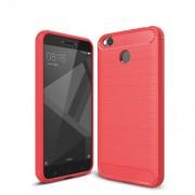 Θήκη Σιλικόνης TPU Carbon Fiber Brushed για Xiaomi Redmi 4X - Κόκκινο