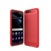 Carbon Fibre Brushed TPU Back Case for Huawei P10 - Red