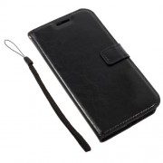 Crazy Horse ID/Credit Card Slots Leather Case with Lanyard for Motorola Moto G5 - Black