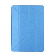 Silk Texture Origami Stand Smart Leather Wake Sleep Case for iPad 9.7-inch (2017) / 9.7 (2018) - Dark Blue