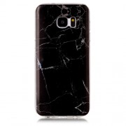 Marble Phone Case for Samsung Galaxy S7 edge G935 IMD Soft TPU Shell - Black