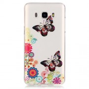 Transparent IMD TPU Back Cover for Samsung Galaxy J5 (2016) - Butterfly and Flower