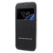 Δερμάτινη Θήκη Βιβλίο Smart Cover με Βάση Στήριξης και Δυνατότητα να Απαντάς Κλήση με Κλειστή Θήκη για Samsung Galaxy S7 G930 - Μαύρο