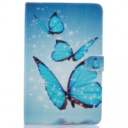 For Samsung Galaxy Tab E 9.6 T560 Patterned Leather Stand Case - Blue Butterfly