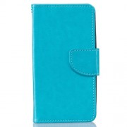 Solid Color Leather Case with Card Slots for Samsung Galaxy J3 / J3 (2016) - Blue