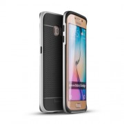 IPAKY Υβριδική Θήκη Συδυασμού Σιλικόνης TPU και Πλαστικού για Samsung Galaxy S6 Edge G925 - Ασημί/Μαύρο