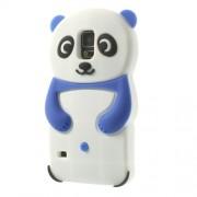 Θήκη Σιλικόνης 3D Σχέδιο Αρκουδάκι Panda για Samsung Galaxy S5 G900 G900H - Σκούρο Μπλε/Λευκό