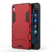 Θήκη Σιλικόνης TPU σε Συνδυασμό με Πλαστικό και Βάση Στήριξης για Sony Xperia E5 - Κόκκινο