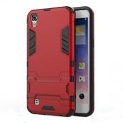 Υβριδική Θήκη Συνδυασμού Σιλικόνης TPU και Πλαστικού με Βάση Στήριξης για LG X Power - Κόκκινο