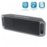 Dual Horn Bluetooth Speaker Support TF Card/Aux-in/FM for iPhone Samsung - Grey