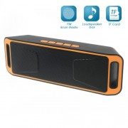 Dual Horn Bluetooth Speaker Support TF Card/Aux-in/FM for iPhone Samsung - Orange