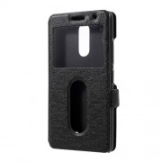 Silk Texture Dual Window Leather Stand Case for Lenovo K6 Power - Black