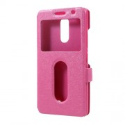 Silk Texture Dual Window Leather Case Accessory for Lenovo K6 Power - Rose