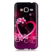 Θήκη Σιλικόνης TPU για Samsung Galaxy J3 / J3 (2016) - Καρδιά με Λουλούδια