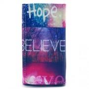 Universal Δερμάτινη Θήκη Πορτοφόλι για Smartphones 4,6 με 5,2 ίντσες (144 x 75mm) - Μοτίβο η Φράση Hope Believe Love