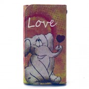 Universal Δερμάτινη Θήκη Πορτοφόλι για Smartphones 4,6 με 5,2 ίντσες (144 x 75mm) - Γλυκό Ελεφαντάκι με τη Λέξη Love