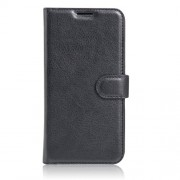 Litchi Skin Leather Wallet Stand Case for Lenovo P2 - Black