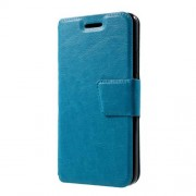 Crazy Horse Leather Stand Case with Card Slots for Lenovo K6 - Blue