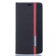 Δερμάτινη Θήκη Πορτοφόλι με Βάση Στήριξης Δύο Χρωμάτων για ZTE Blade V7 Lite - Μαύρο