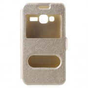 For Samsung Galaxy J1 mini prime Silk Texture Dual Window Leather Mobile Shell - Gold