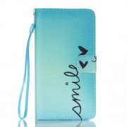 Leather Wallet Case Stand Cover for Samsung Galaxy J7 (2016) - Smile and Butterfly