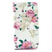 Δερμάτινη Θήκη Πορτοφόλι με Βάση Στήριξης για Samsung Galaxy S6 G920 - Μπουκέτα Τριαντάφυλλα σε Λευκό Φόντο
