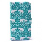 Δερμάτινη Θήκη Πορτοφόλι με Βάση Στήριξης για Samsung Galaxy S6 G920 - Λευκοί Ελέφαντες σε Γαλαζοπράσινο Ρετρό Φόντο