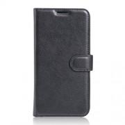 Litchi Skin Leather Wallet Case for LG X Cam - Black