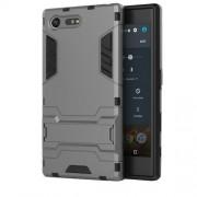 Υβριδική Θήκη Συνδυασμού Σιλικόνης TPU και Πλαστικού με Βάση Στήριξης για Sony Xperia X Compact - Γκρι
