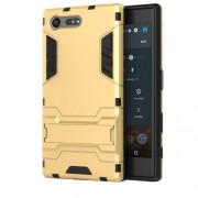 Υβριδική Θήκη Συνδυασμού Σιλικόνης TPU και Πλαστικού με Βάση Στήριξης για Sony Xperia X Compact - Χρυσαφί