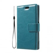 3-slot Wallet Crazy Horse Leather Phone Case for Sony Xperia X Compact with Strap - Blue