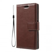3-slot Wallet Crazy Horse Leather Flip Case for Sony Xperia X Compact with Strap - Brown