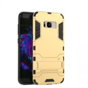PC + TPU Hybrid Cell Phone Cover for Samsung Galaxy S8 Plus with Kickstand - Gold