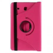 Δερμάτινη Θήκη Πορτοφόλι με Βάση Στήριξης (Επένδυση Υφάσματος) για Samsung Galaxy Tab E 9.6 T560 - Φούξια