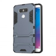 Υβριδική Θήκη Συνδυασμού Σιλικόνης TPU και Πλαστικού με Βάση Στήριξης για LG G6 - Σκούρο Μπλε