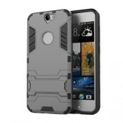 Cool Plastic + TPU Hybrid Shell Case with Kickstand for HTC One A9 - Grey