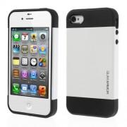 Υβριδική Θήκη Σιλικόνης TPU σε Συνδυαμό με Πλαστικό για iPhone 4 4S - Λευκό/Μαύρο