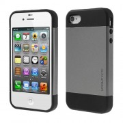 Υβριδική Θήκη Σιλικόνης TPU σε Συνδυαμό με Πλαστικό για iPhone 4 4S - Γκρι/Μαύρο