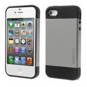 Υβριδική Θήκη Σιλικόνης TPU σε Συνδυαμό με Πλαστικό για iPhone 4 4S - Ασημί/Μαύρο