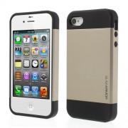 Υβριδική Θήκη Σιλικόνης TPU σε Συνδυαμό με Πλαστικό για iPhone 4 4S - Σαμπανιζέ/Μαύρο