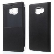 View Window Leather Phone Case for Samsung Galaxy C5 - Black
