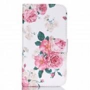 Δερμάτινη Θήκη Πορτοφόλι με Βάση Στήριξης για Samsung Galaxy J5 SM-J500F - Μπουκέτα Τριαντάφυλλα σε Λευκό Φόντο