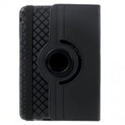 Περιστρεφόμενη Δερμάτινη Θήκη Πορτοφόλι με Βάση Στήριξης και Αποσπώμενη Θήκη Πλάτης TPU (Σχέδιο Ρόμβοι) για iPad Mini 3 2 1 - Μαύρο