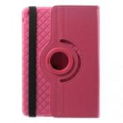 Twill Grain PU Leather Case w/ 360 Degree Rotatory Stand for iPad Mini / Mini 2 / Mini 3 - Rose