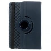 Twill Grain Leather Cover w/ 360 Degree Rotatory Stand for iPad Mini / Mini 2 / Mini 3 - Dark Blue