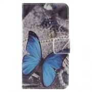 Δερμάτινη Θήκη Πορτοφόλι με Βάση Στήριξης για Samsung Galaxy J1 (2016) - Μπλε Πεταλούδα