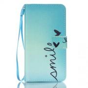 Δερμάτινη Θήκη Πορτοφόλι με Βάση Στήριξης για Samsung Galaxy J5 (2016) - Μοτίβο με τη Φράση Smile και Καρδούλες