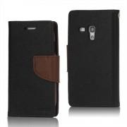 Mercury GOOSPERY Fancy Diary Δερμάτινη Θήκη Πορτοφόλι με Βάση Στήριξης για Samsung Galaxy S III / 3 Mini I8190 - Μαύρο/Καφέ